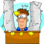 Stressed office worker needing paper and product shredding